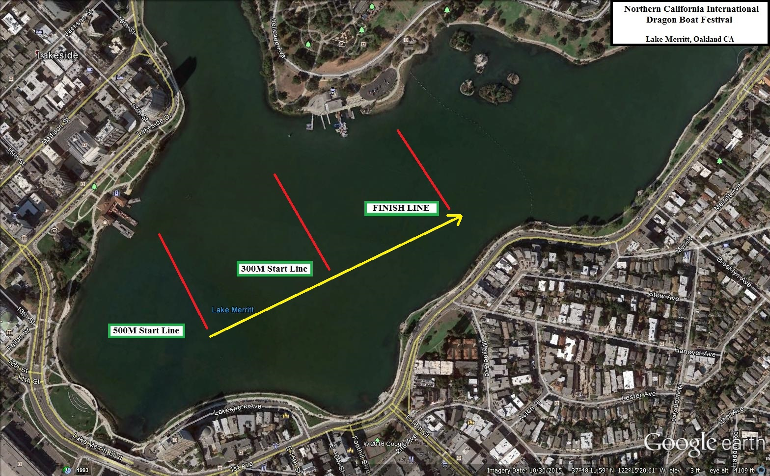 Map of Lake Merritt 500m start line, 300m start line, and finish line